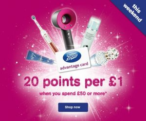 Boots Advantage Card 20th 20 points per £1